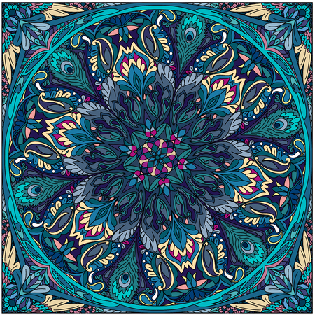 vector seamless pattern mandala floral color art