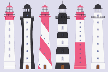 vector flat outline Lighthouse, light house, beacon set