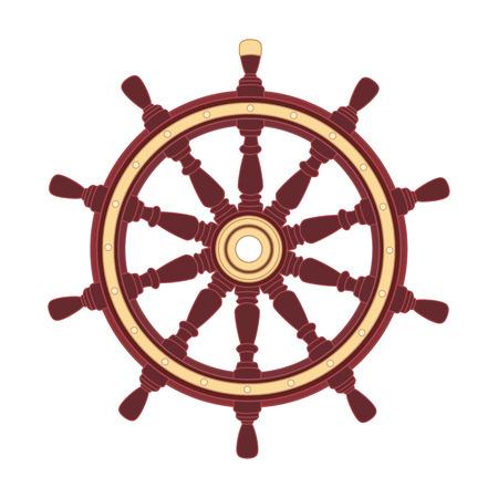 volant de bateau de vecteur, barre de roue de navire. Mer, symbole de l'océan