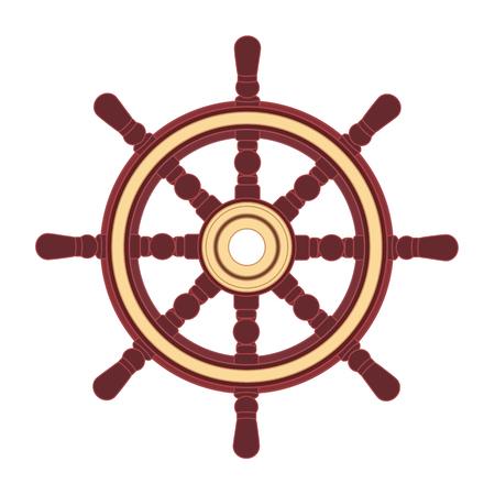 vettore volante della barca, timone della ruota della nave. Mare, simbolo dell'oceano ocean Vettoriali