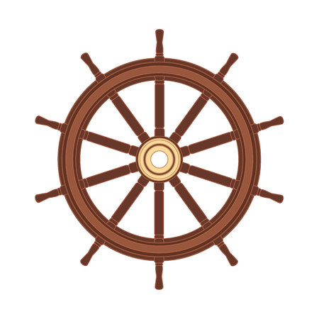 vector boat handwheel, ship wheel helm. Sea, ocean symbol