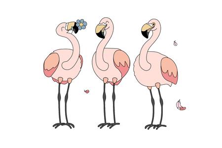vector cartoon animal clipart happy pink flamingo