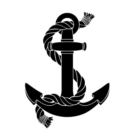vector silhouette graphic black sea anchor shape