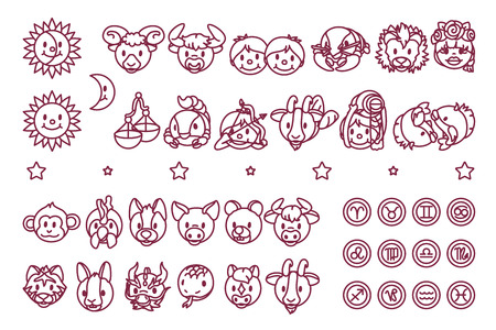 vector zodiac sign icon chinese oriental horoscope Illustration
