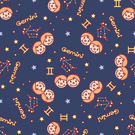 vector seamless pattern cute Zodiac concept art Ilustração