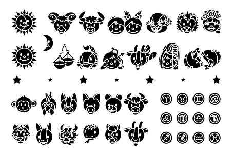 vector zodiac outline icon chinese oriental horoscope Ilustração
