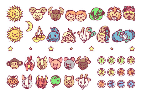 vector cute chinese astrology zodiac icon set Ilustração