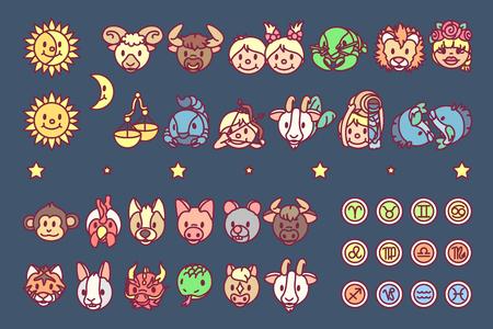 vector zodiac sign icon chinese oriental horoscope Ilustração