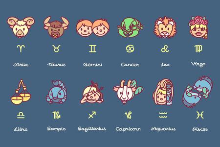 vector cute astrology horoscope zodiac icon set
