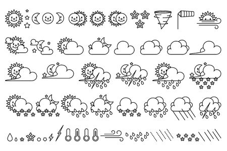 vector cute weather icons. Meteo climate set