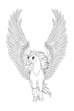 vector cartoon white pegasus horse clip art
