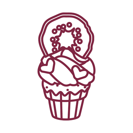 vector cute cupcake sweets coloring book page Illustration