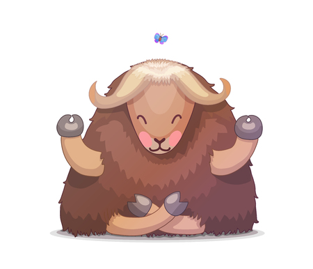 vector cartoon animal clip art tibetan yak Illustration