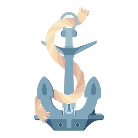 vector flat sea ocean maritime icon vintage Anchor, rope Иллюстрация