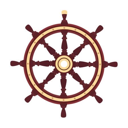 vector flat boat handwheel, ship wheel helm. Sea, ocean symbol Ilustración de vector