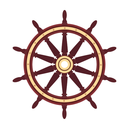 vector flat boat handwheel, ship wheel helm. Sea, ocean symbol