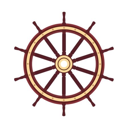 vector platte boot handwiel, schip wiel roer. Zee, oceaan symbool