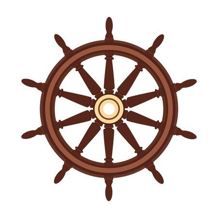 volant de bateau plat de vecteur, barre de roue de navire. Mer, symbole de l'océan