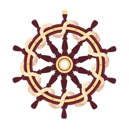 vector flat boat rope handwheel, ship wheel helm. Sea, ocean symbol