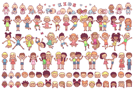 vector cute cartoon kids, child clip art Stock Illustratie