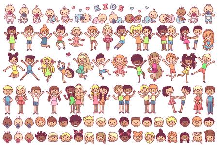 vector schattige cartoon kinderen, kind illustraties