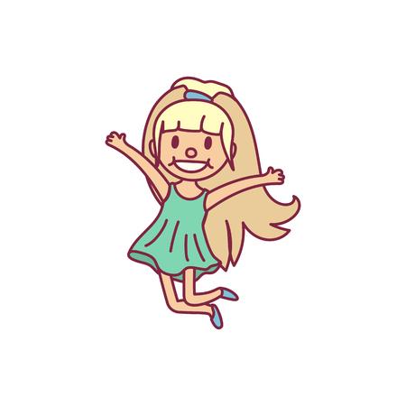 vector cute cartoon kid, child clip art Illustration
