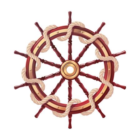 volante de cuerda de barco de vector, timón de rueda de barco. Mar, símbolo del océano