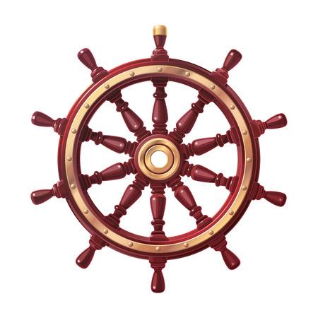 volante de barco de vector, timón de rueda de barco. Mar, símbolo del océano Ilustración de vector