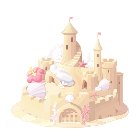 vector fantasy castle sand, sandcastle fort sculpture