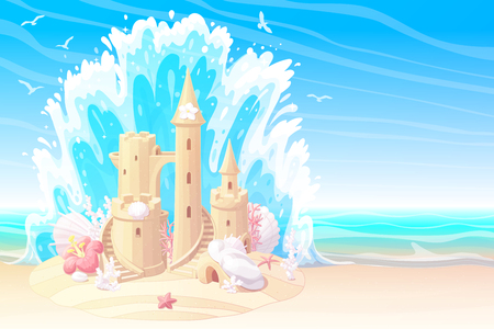 vector summer cartoon sea beach sandcastle sunny banner Çizim
