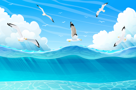 vector summer cartoon sea, ocean, underwater seascape