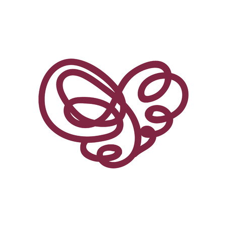 vector scribble line heart hand drawn art