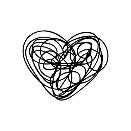 vector scribble line heart hand drawn art 向量圖像