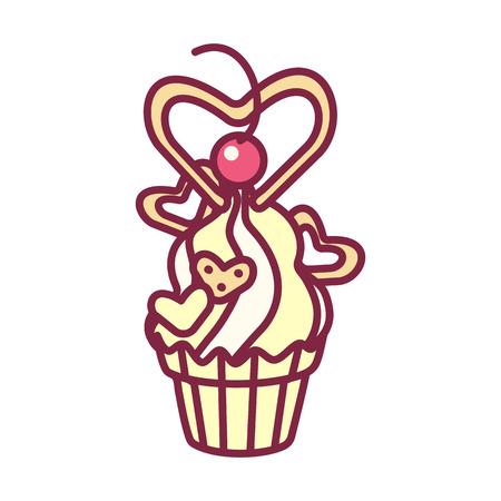 vector cute cupcake sweets, flat clip art