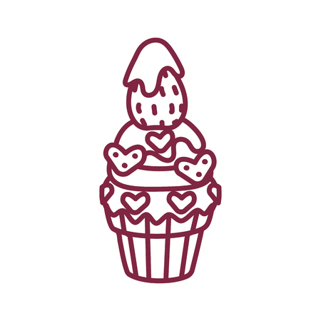 vector cute cupcake sweets coloring book page Ilustrace