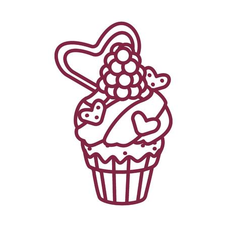 vector cute cupcake sweets coloring book page Ilustração