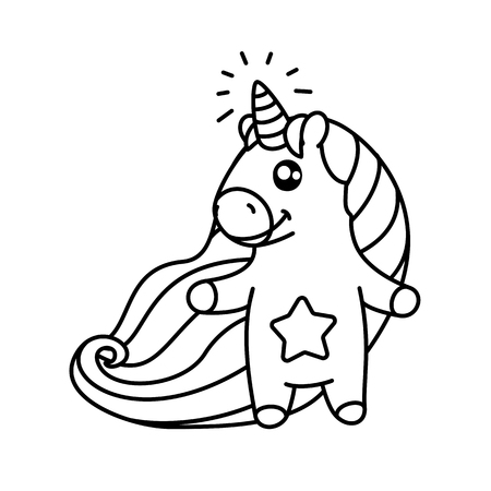 vector cute baby unicorn kids coloring book page