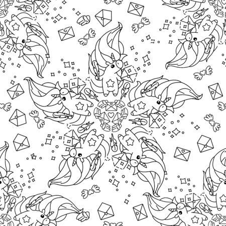 vector rainbow unicorn pattern coloring book page Ilustração