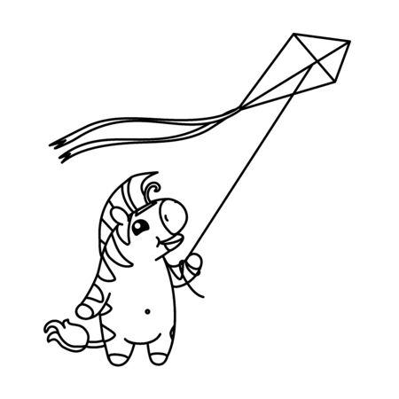 vector cute baby zebra kids coloring book page Vektoros illusztráció