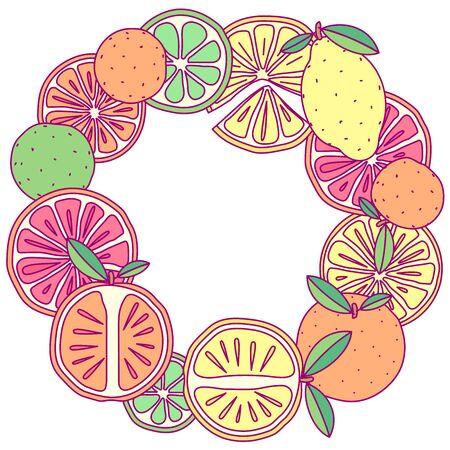 vector fruit circle border frame clip art
