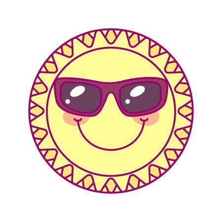 vector cute round sun template. print for disposable tableware