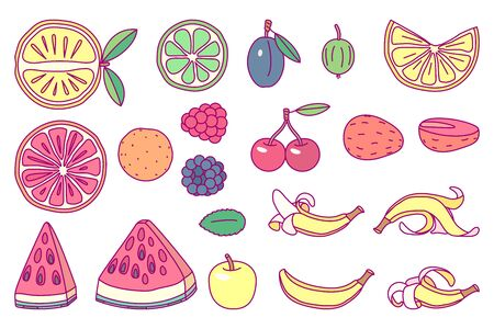 vector cute drawn fruits set clip arts