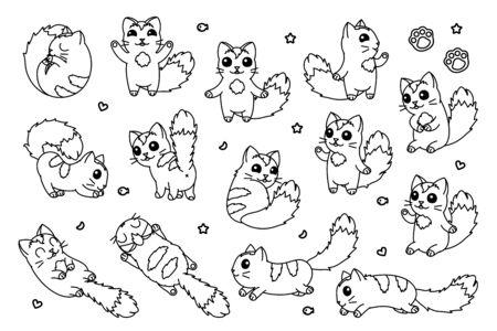 vector cute cartoon cats set. coloring book page Vectores