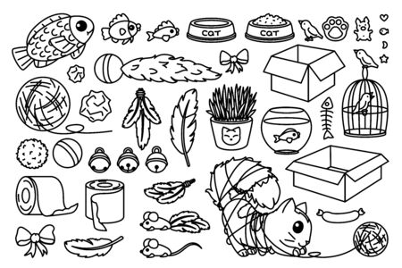vector toys set for cats. coloring book page