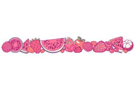 vector fruit panorama border frame clip art