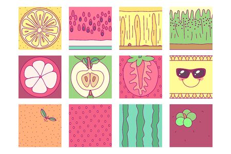 vector template fruit set. print for disposable tableware Vectores