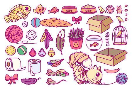 vector toys set for cats. Cute cartoon collectin Vectores
