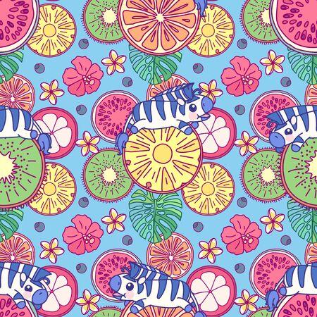 vector tropical food seamless pattern clip art