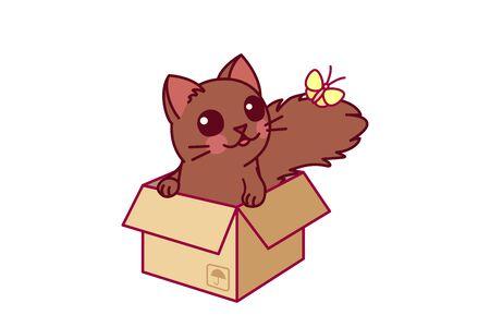 vector cute cartoon little cat. cartoon character Vectores