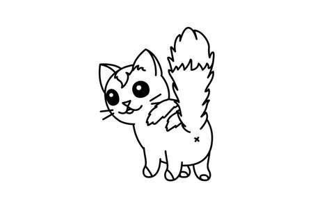 vector cute cartoon little cat. coloring book page Vektoros illusztráció